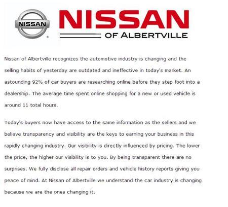 Nissan Of Albertville >> Team One Nissan Of Albertville Car Dealership In Albertville Al